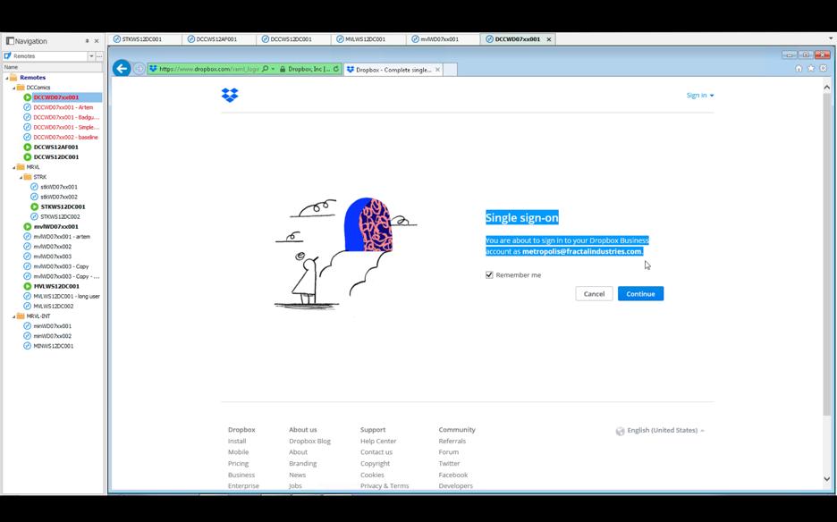 Dropbox login screen