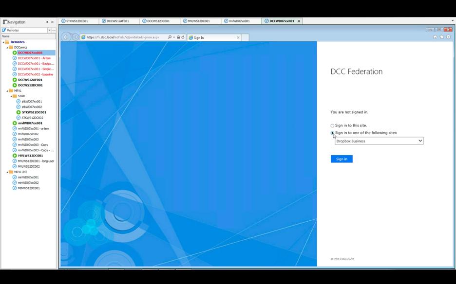 ADFS login screen
