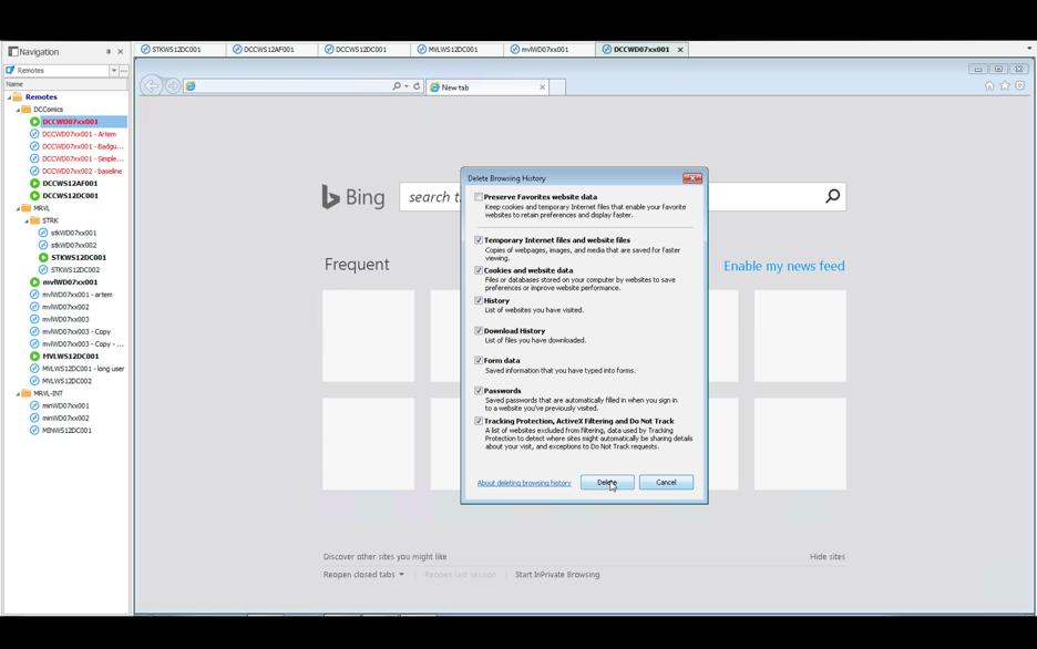 Clearing Browsing Data on Bing