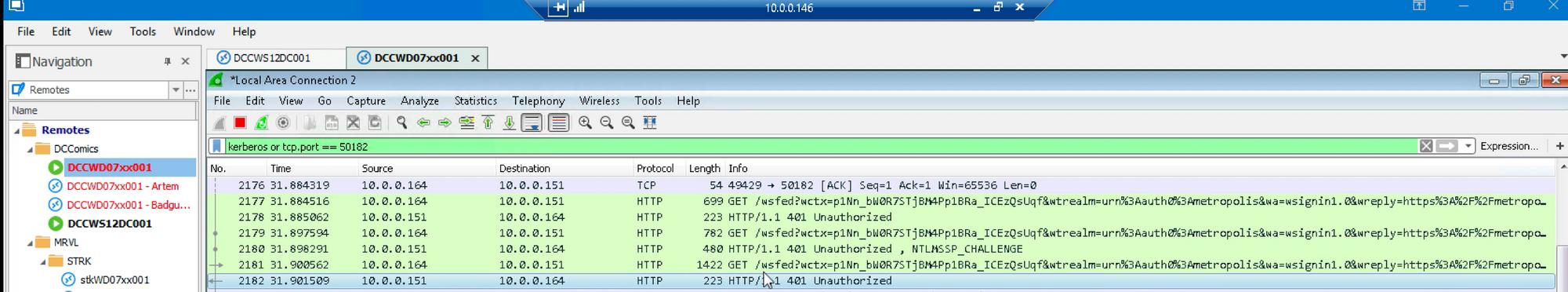 GT attack Wireshark unauthorized error