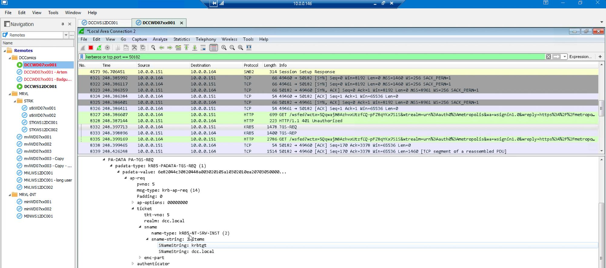 GT attack Wireshark forged ticket