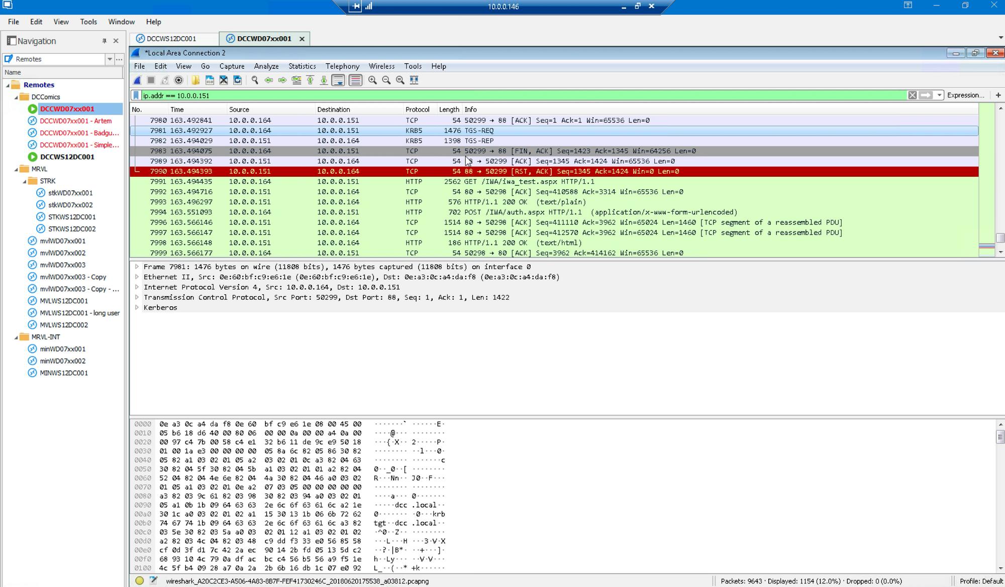 wireshark logs show TGS_REQ