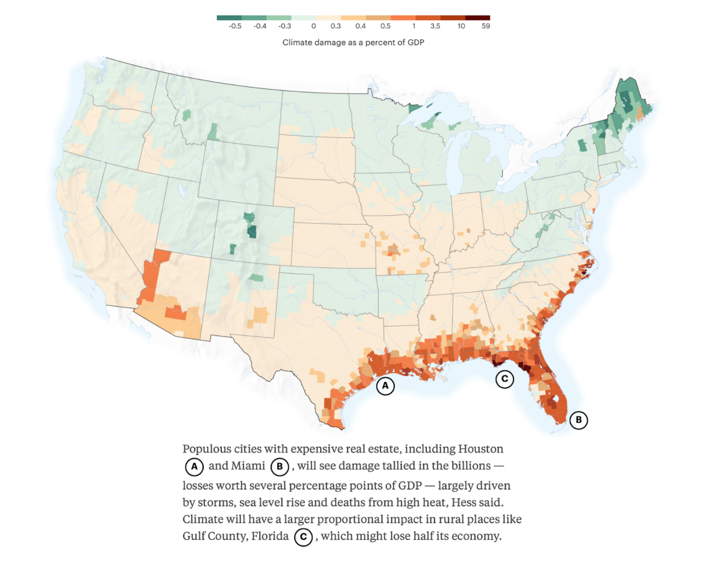 Map of climate change in the united states