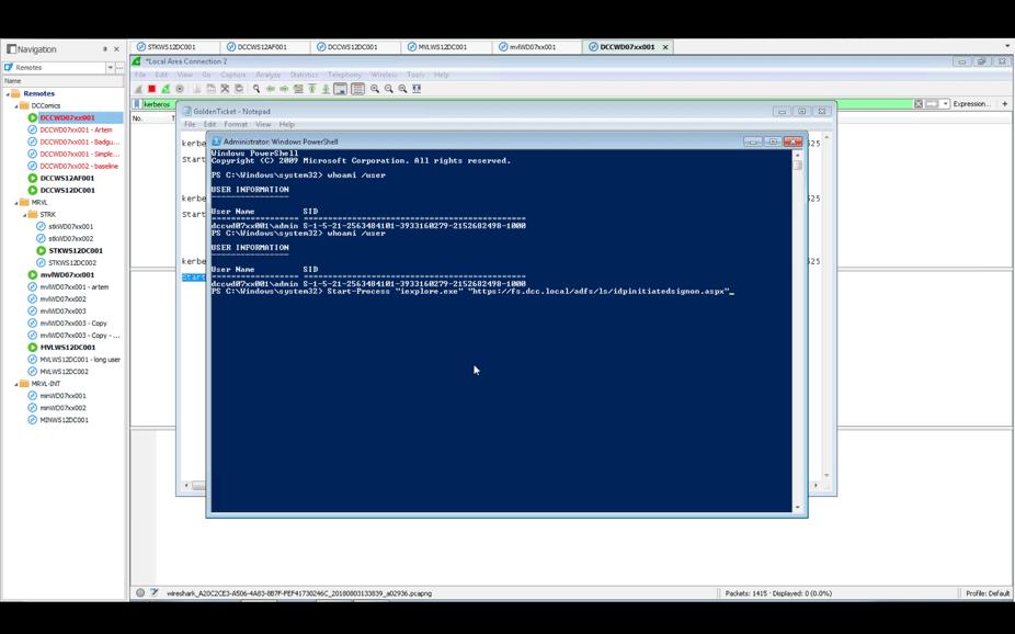 Start Process ADFS screen