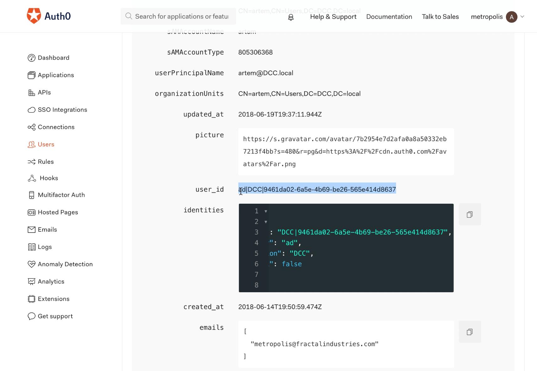 Auth0 user ID window