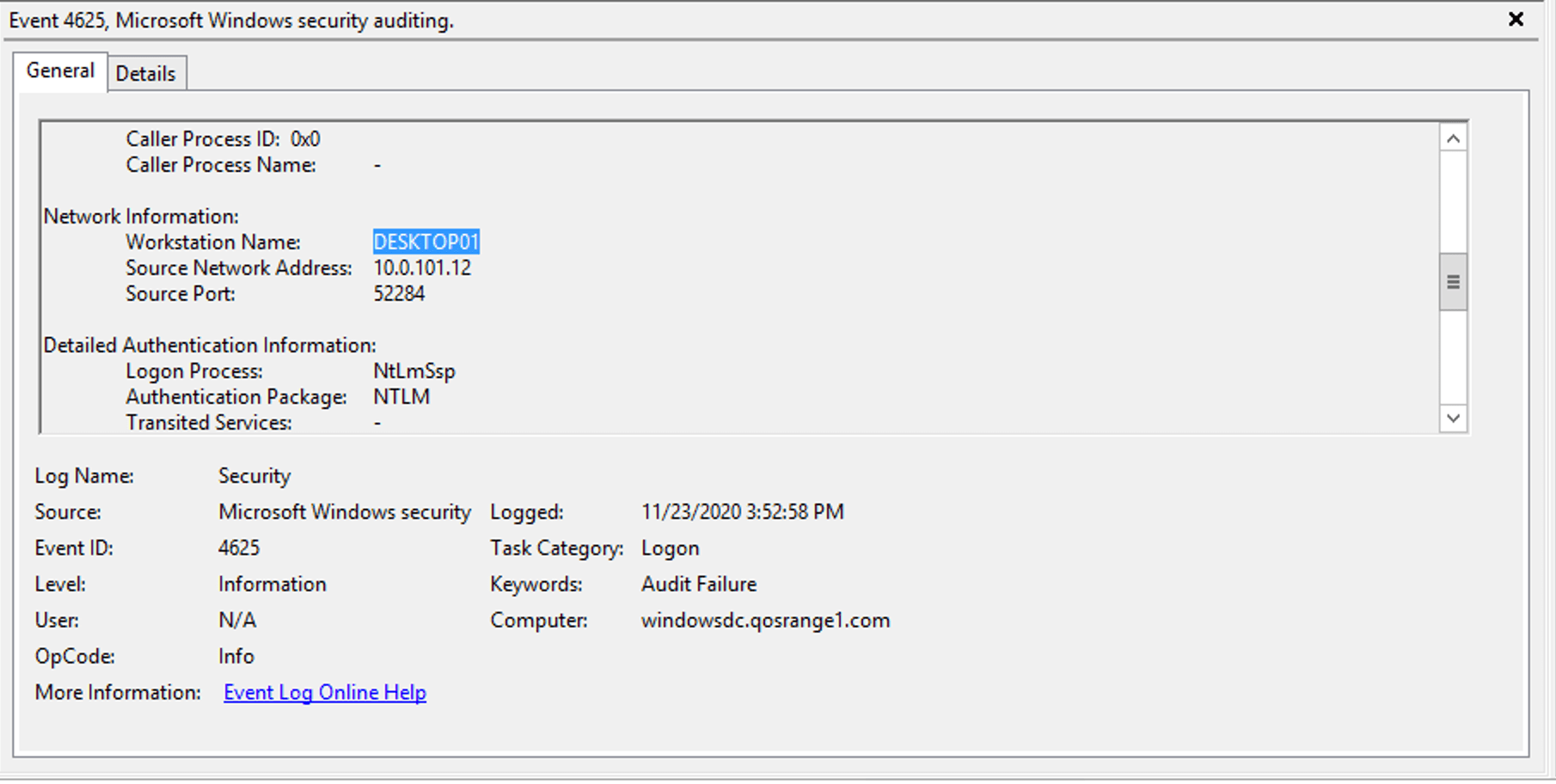 Microsoft Windows security auditing page